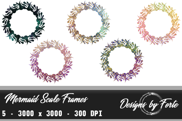 Print on Demand: Mermaid Scale Frames - Set of Five Graphic Objects By Heidi Vargas-Smith