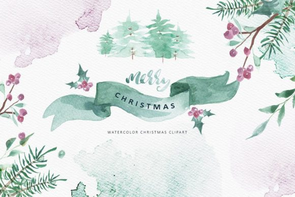Merry Christmas Watercolor Graphic Illustrations By Creativeqube Design - Image 1