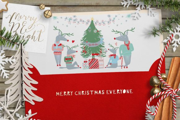 Merry and Bright Clipart Graphic Illustrations By Creativeqube Design - Image 3