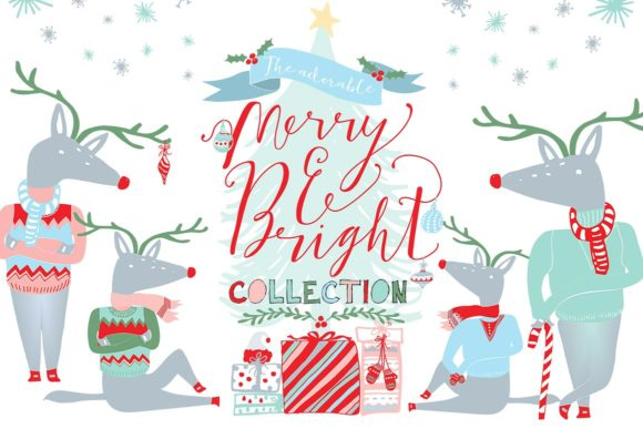 Merry and Bright Clipart Graphic By Creativeqube Design