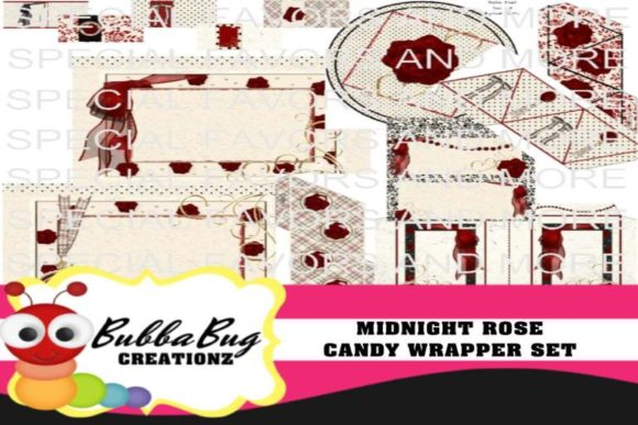 Midnight Rose Candy Wrapper Set Graphic Crafts By BUBBABUG
