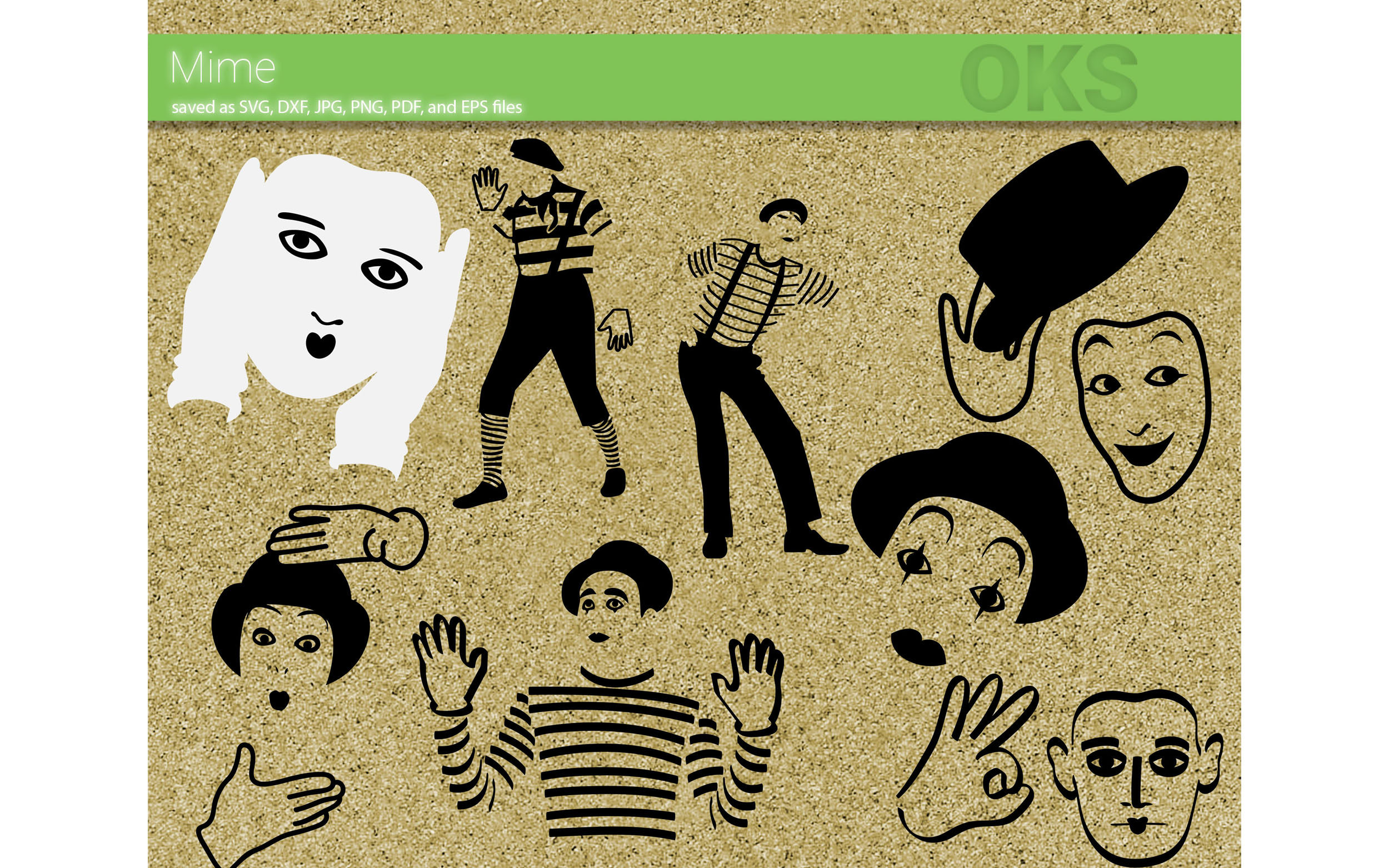 Download Free Mime Bundle Graphic By Crafteroks Creative Fabrica for Cricut Explore, Silhouette and other cutting machines.