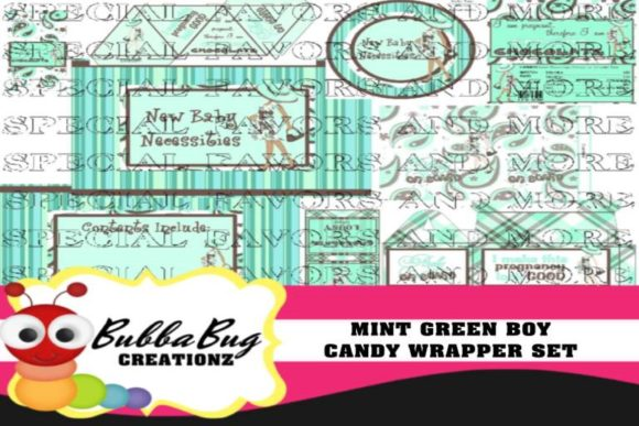 Mint Green Boy Candy Wrapper Set Graphic Crafts By BUBBABUG