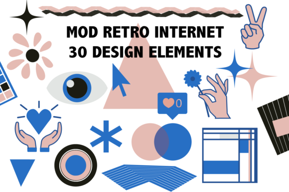 Print on Demand: Mod Retro Internet Design Elements Graphic Objects By Mine Eyes Design