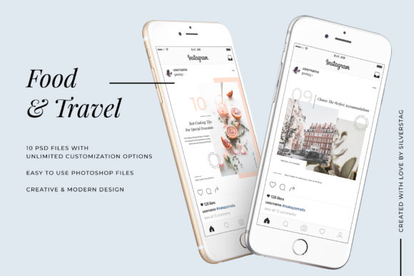 Print on Demand: Modern Food & Travel Instagram Post Templates Graphic Websites By SilverStag - Image 2