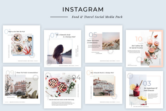 Print on Demand: Modern Food & Travel Instagram Post Templates Graphic Websites By SilverStag - Image 1
