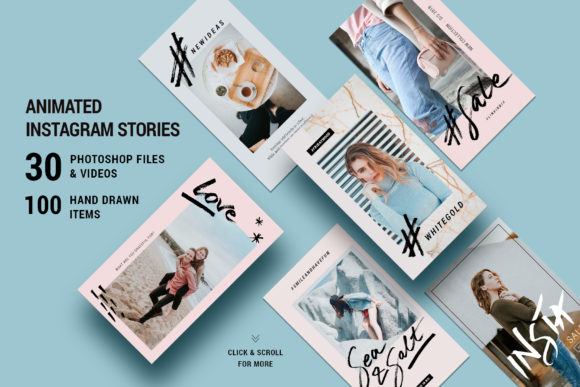 Print on Demand: Modern Instagram Stories with Hand Drawn Elements Graphic Websites By SilverStag