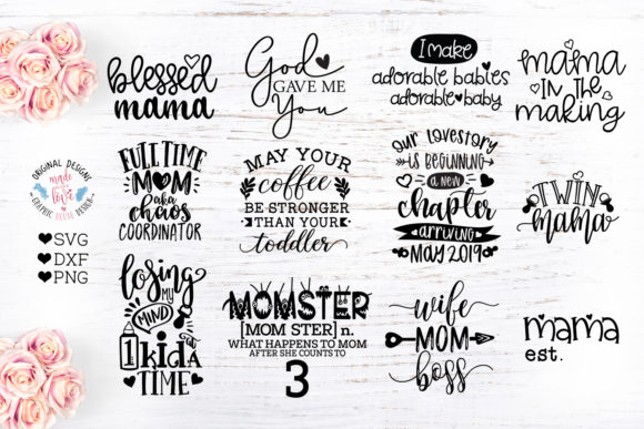 Print on Demand: Mommy to Be Cut Files Bundle Graphic Crafts By GraphicHouseDesign