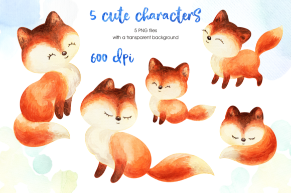 Print on Demand: Mom's Tenderness. Watercolor Foxes and B Graphic Illustrations By Olga Belova - Image 2