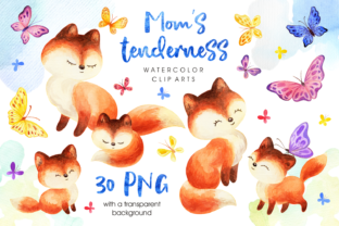 Print on Demand: Mom's Tenderness. Watercolor Foxes and B Graphic Illustrations By Olga Belova 1