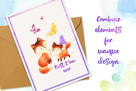 Print on Demand: Mom's Tenderness. Watercolor Foxes and B Graphic Illustrations By Olga Belova - Image 5