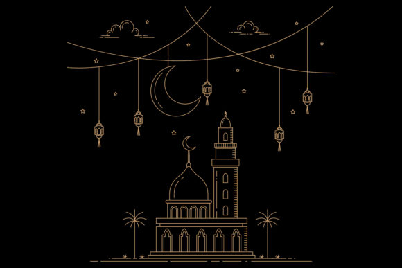 Mono Line Style Design Islamic Graphic By sabavector