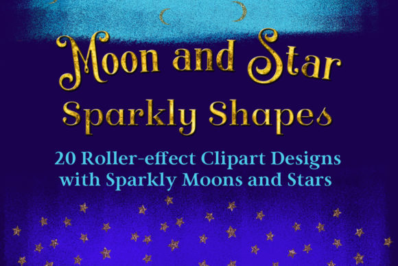 Moon and Star Sparkly Shapes Clipart Graphic By SapphireXDesigns