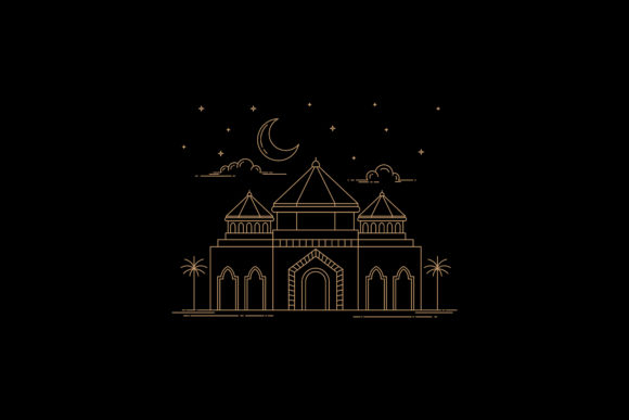 Mosque Line Art Style Design Graphic By sabavector