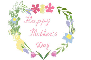 Mother's Day Greeting Card with Flowers Graphic By kakva