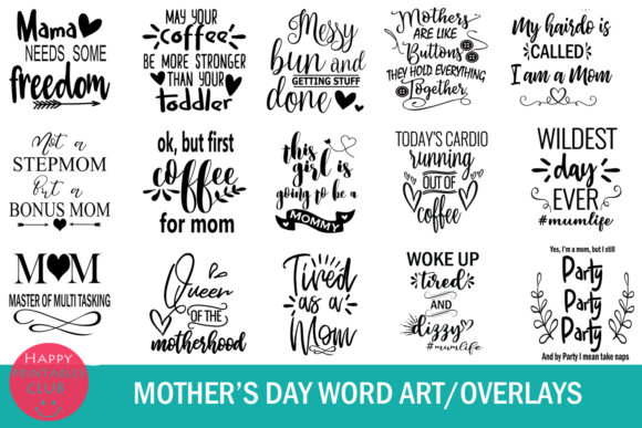 Print on Demand: Mother's Day Text Clipart-Photo Overlays Graphic Illustrations By Happy Printables Club - Image 2