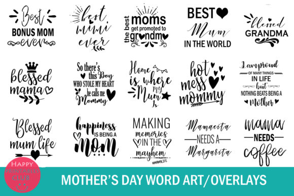 Print on Demand: Mother's Day Text Clipart-Photo Overlays Graphic Illustrations By Happy Printables Club - Image 3