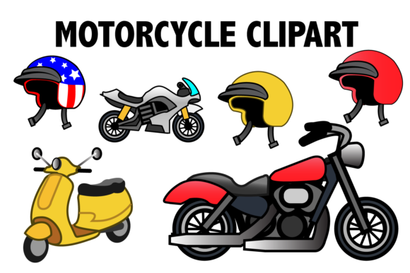 Print on Demand: Motorcycle Clipart Graphic Illustrations By Mine Eyes Design