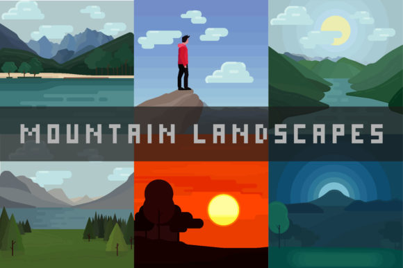 Print on Demand: Mountain Landscapes-Vector Illustrations Graphic Illustrations By arausidp