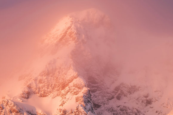 Mountains is Pink Light with Fog Graphic Photos By Aleš Krivec