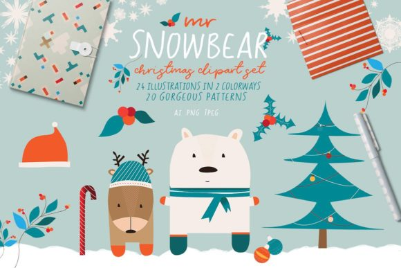 Mr Snowbear Clipart Graphic By Creativeqube Design