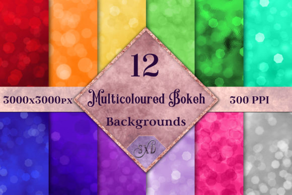 Print on Demand: Multicoloured Bokeh Backgrounds Graphic Backgrounds By SapphireXDesigns - Image 1
