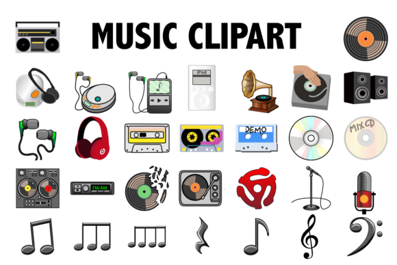 Print on Demand: Music Clipart Graphic Icons By Mine Eyes Design - Image 1