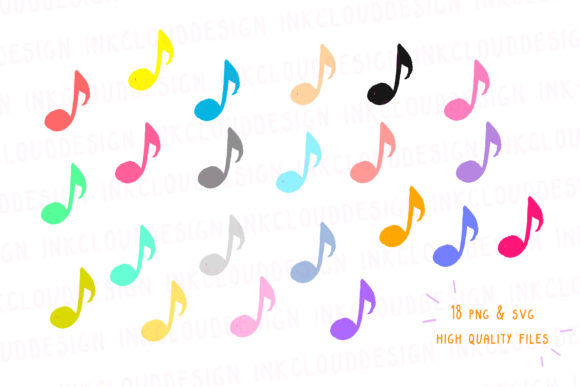 Download Free Music Notes Clip Art Musical Sound Graphic By Inkclouddesign for Cricut Explore, Silhouette and other cutting machines.