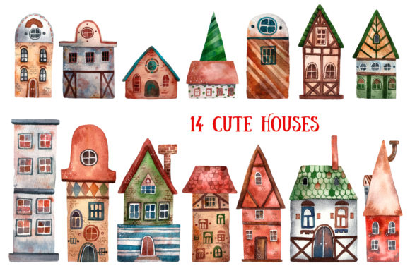 Download Free Mysterious Town Watercolor Clip Art Graphic By Mashamashastu for Cricut Explore, Silhouette and other cutting machines.