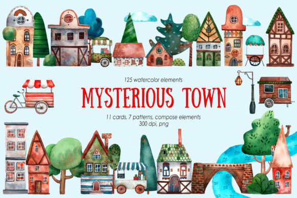 Mysterious Town Watercolor Clip Art Graphic Illustrations By mashamashastu
