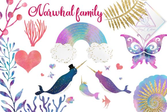Print on Demand: Narwhal Family Clipart Graphic Illustrations By fantasycliparts