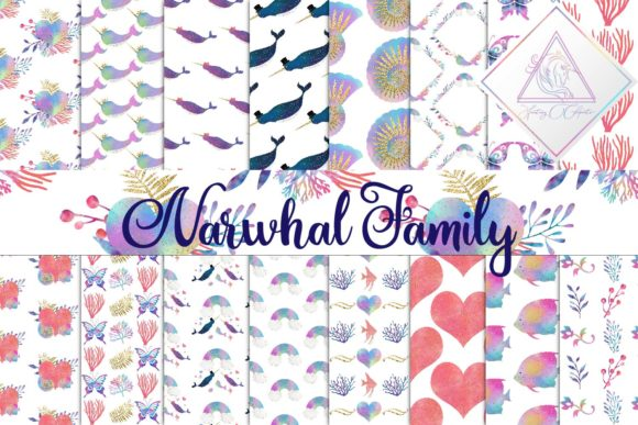 Print on Demand: Narwhal Family Digital Paper Graphic Textures By fantasycliparts