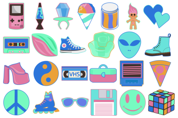 Print on Demand: Neon 90s Clipart Graphic Icons By Mine Eyes Design - Image 2