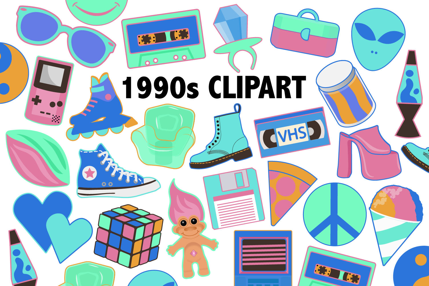Download Free Neon 90s Clipart Graphic By Mine Eyes Design Creative Fabrica for Cricut Explore, Silhouette and other cutting machines.