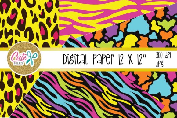 Neon Animal Print, Digital Paper for Scrapbooking Graphic Download