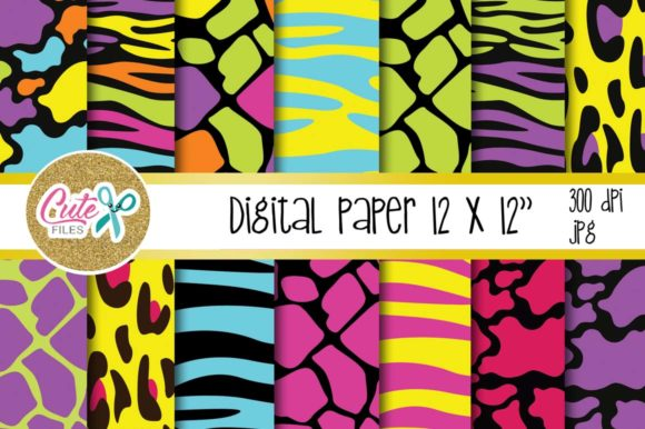 Neon Animal Print, Digital Paper for Scrapbooking Graphic Textures By Cute files
