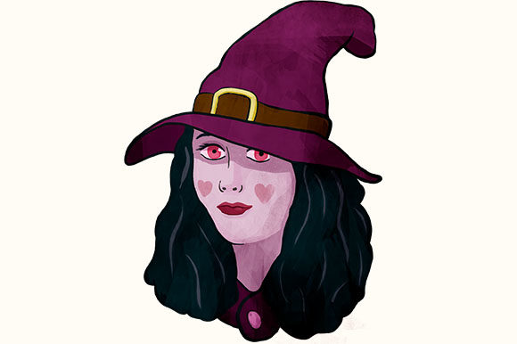 Print on Demand: Nice Purple Witch with a Big Hat Clipart Graphic Illustrations By Milaski