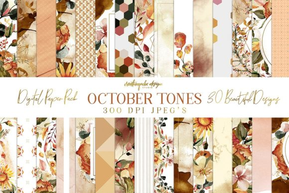October Tones Paper Pack Graphic By Creativeqube Design