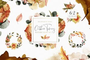 October Tones Watercolor Clipart Graphic Illustrations By Creativeqube Design
