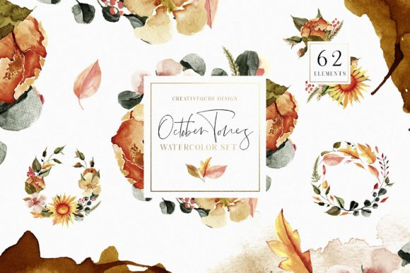 October Tones Watercolor Clipart Graphic By Creativeqube Design