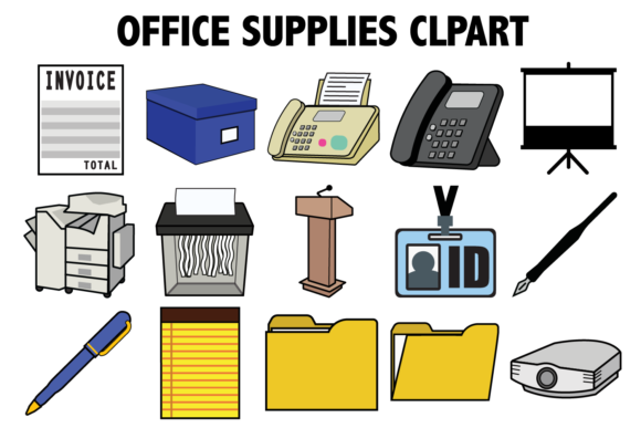Print on Demand: Office Supplies Clipart Graphic Icons By Mine Eyes Design