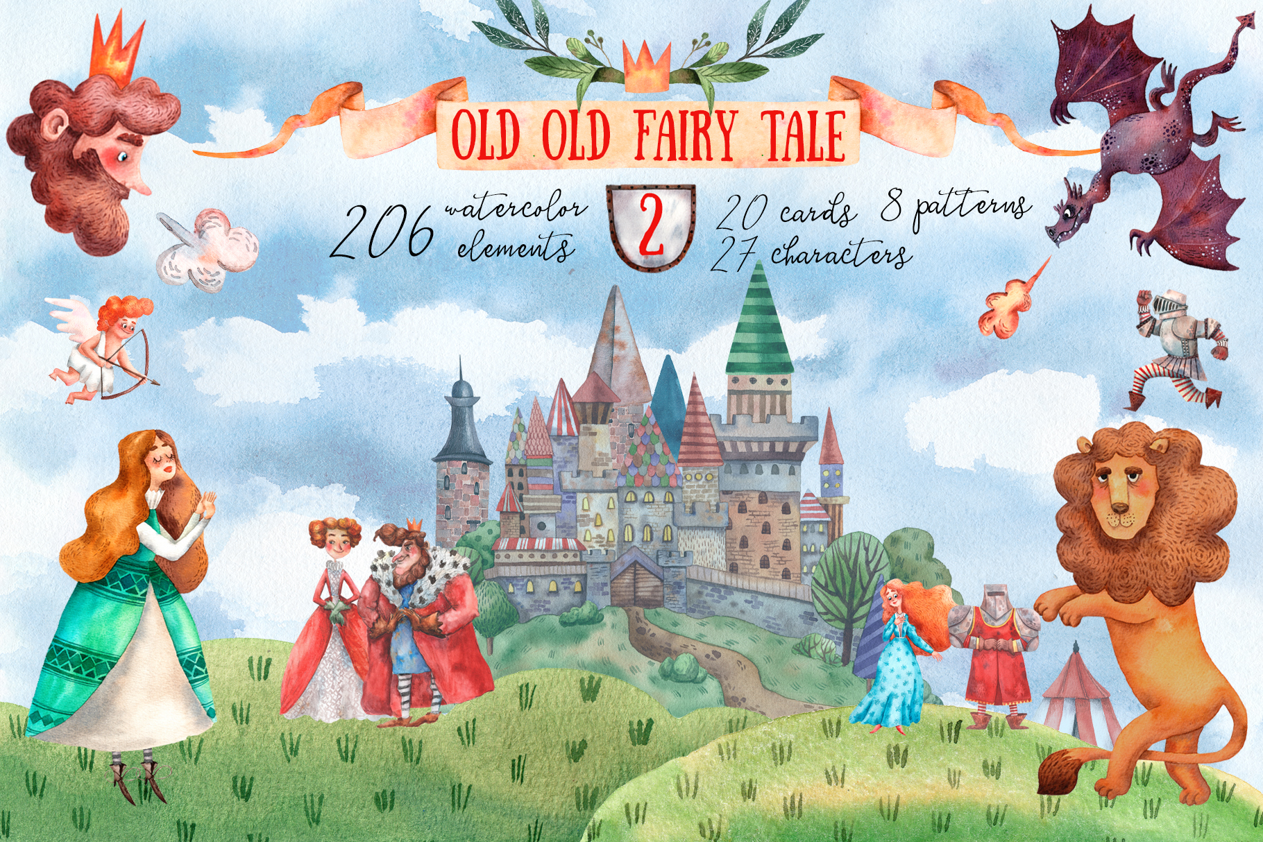 Download Free Old Old Fairy Tale 2 Watercolor Set Graphic By Mashamashastu Creative Fabrica for Cricut Explore, Silhouette and other cutting machines.