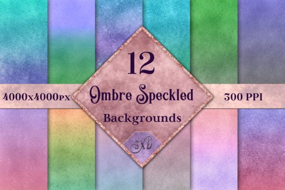 Print on Demand: Ombre Speckled Backgrounds - 12 Images Graphic Backgrounds By SapphireXDesigns