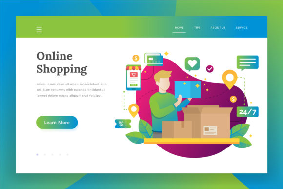 Online Shopping Landing Page Graphic Websites By Fand