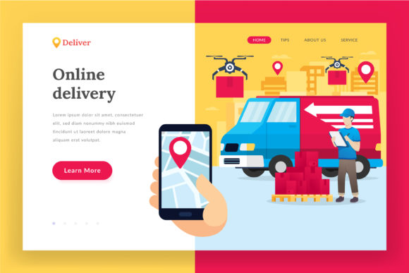 Online Delivery Service - Landing Page Graphic Websites By irfanfirdaus19