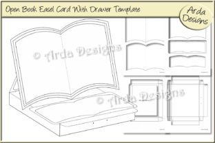 Download Free Open Book Easel Card Template Graphic By Arda Designs Creative Fabrica for Cricut Explore, Silhouette and other cutting machines.