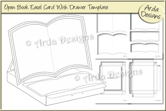 Print on Demand: Open Book Easel Card Template Graphic Print Templates By Arda Designs