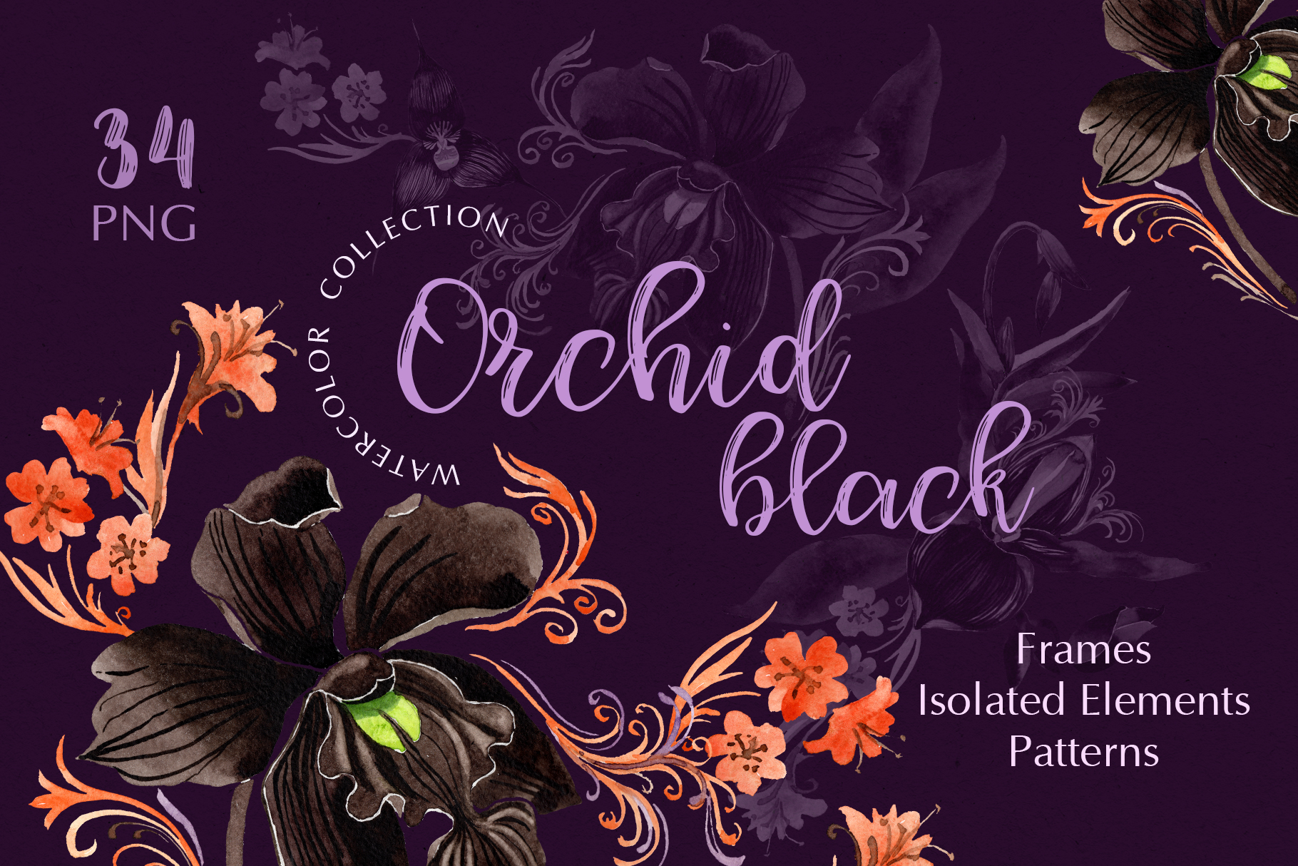 Download Free Orchid Black Watercolor Graphic By Mystocks Creative Fabrica for Cricut Explore, Silhouette and other cutting machines.