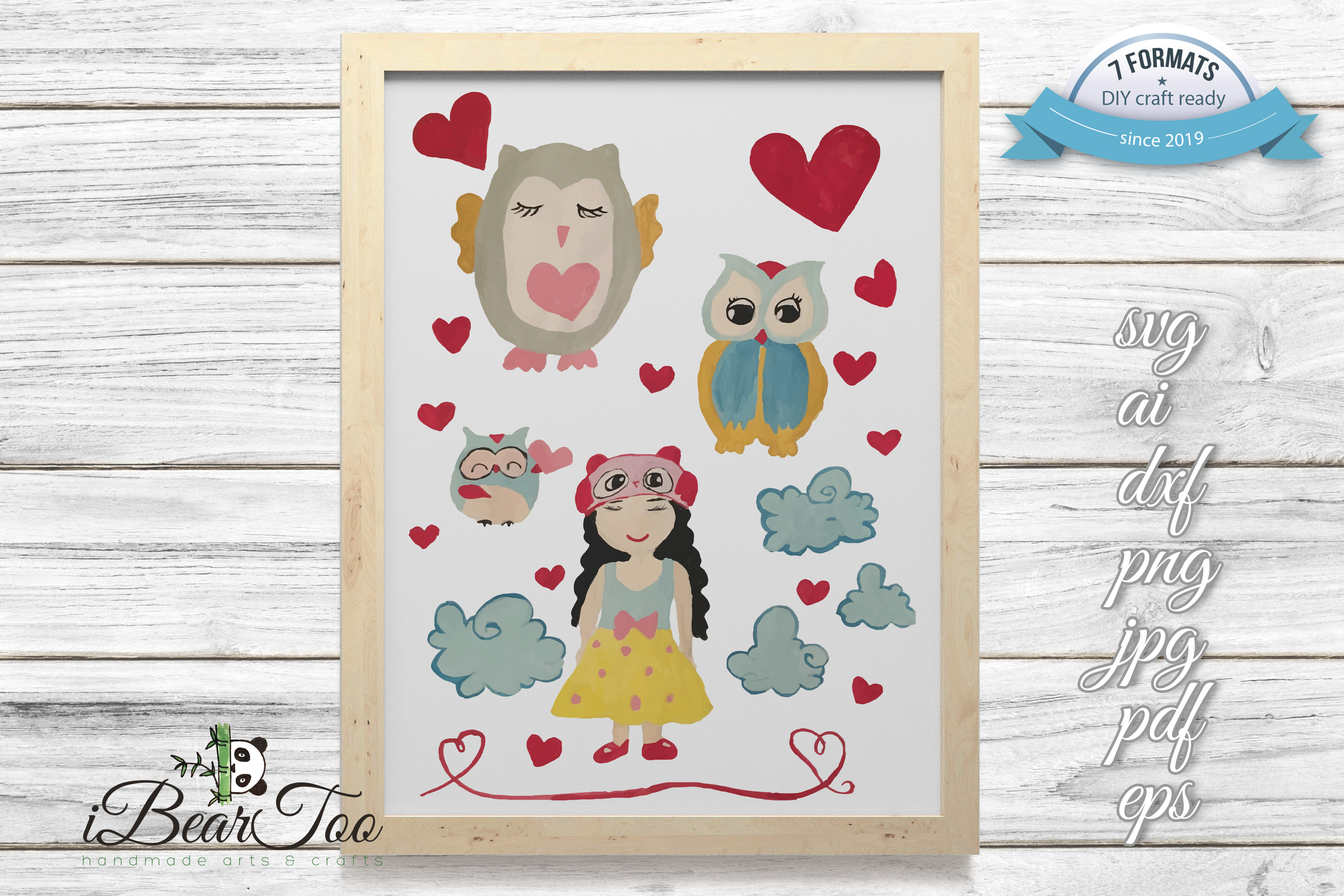 Owl Girl Svg Clipart Vector Watercolor Graphic By Ibeartoo