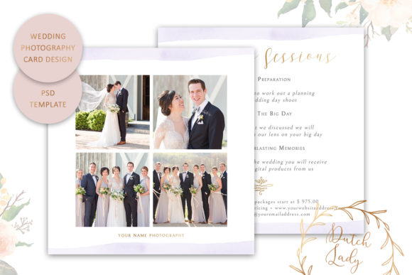 Print on Demand: PSD Wedding Photo Card Template Graphic Print Templates By daphnepopuliers